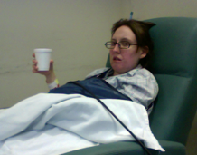 Liz shortly after the surgery