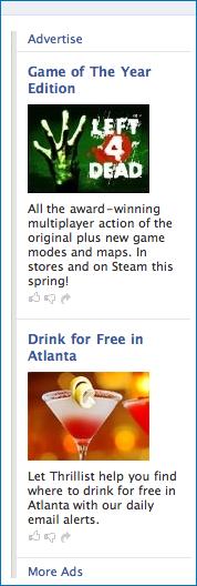 Sample of Facebook advertising
