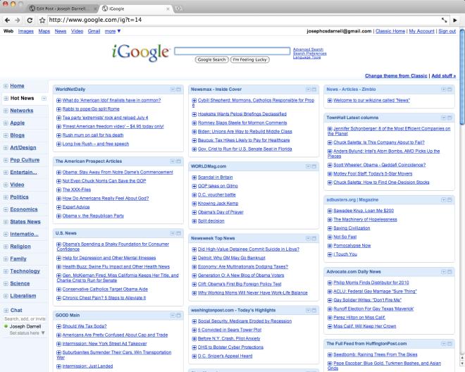 iGoogle: RSS Aggregator