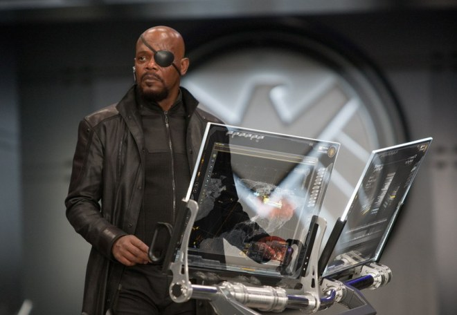Nick Fury by his computers - visual effects magic