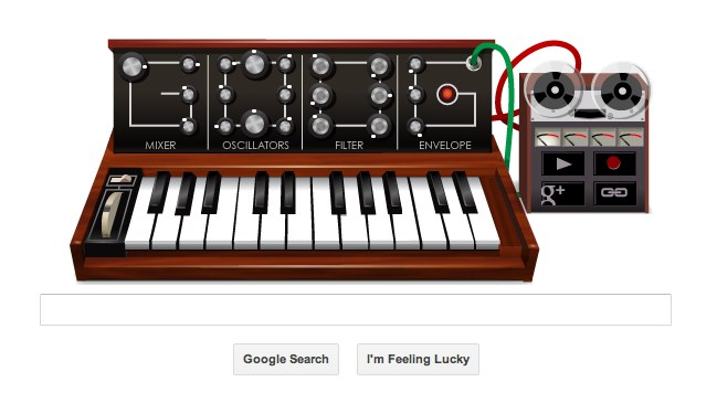 Screen shot of the Google Homepage digital keyboard player, May 23, 2012