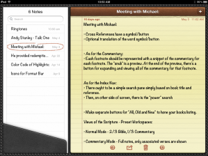 Screen shot of iPad's Notes app