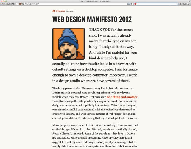 Screen Shot of Jeffrey Zeldman's updated web interface