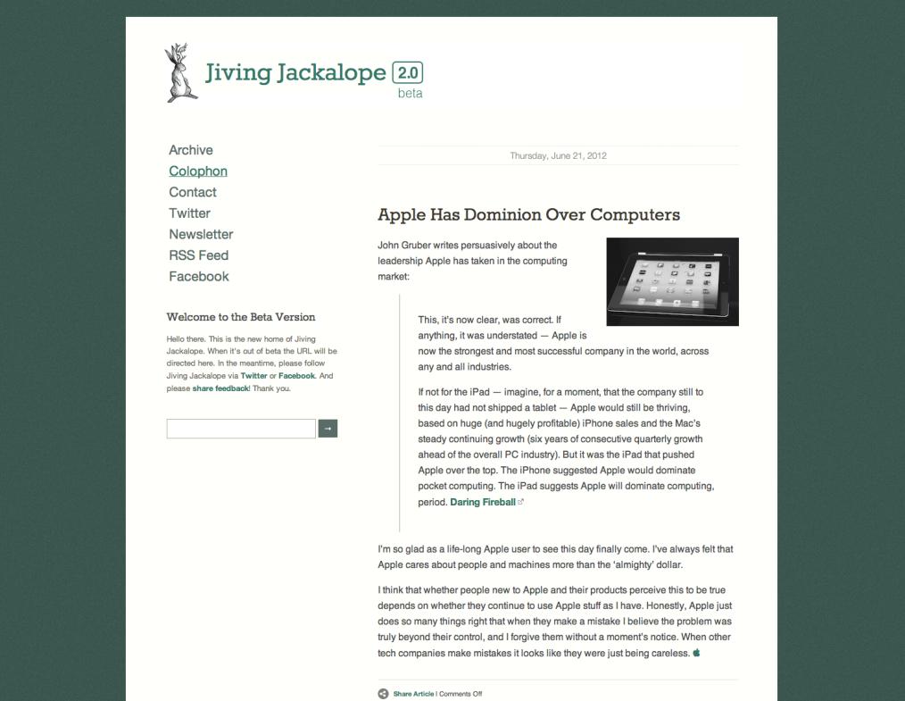 A screen shot of the Squarespace version of Jiving Jackalope