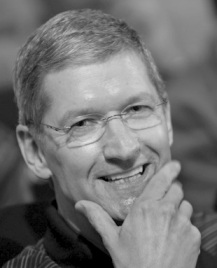 A portrait of Tim Cook, black and white