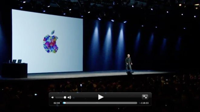 A screen shot from the keynote